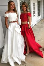 elegant off the shoulder satin prom dress with pocket, fashion two piece satin p - $159.00+