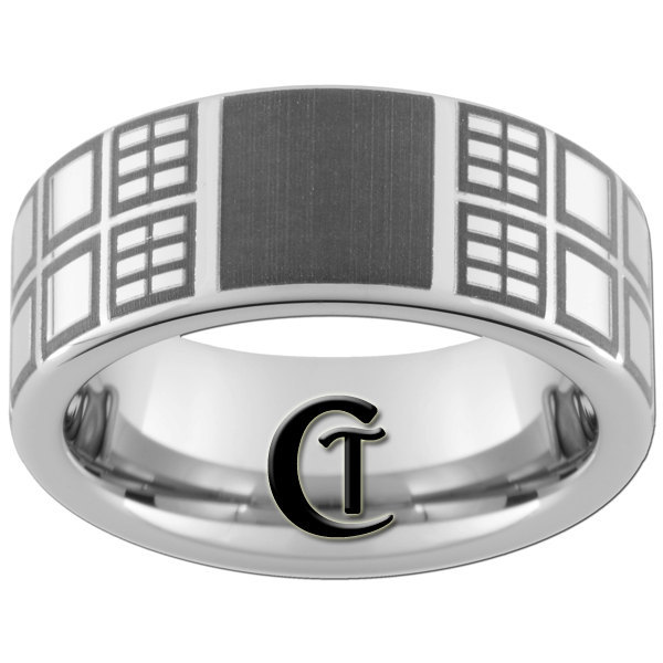 Tungsten Carbide Ring 8mm Pipe Doctor Who Tardis Design Sizes 4-17