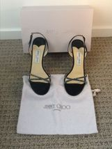 Jimmy Choo *Crystal Dust* Black Satin Shoes, 38.5. Fits a US size 8. - $199.00