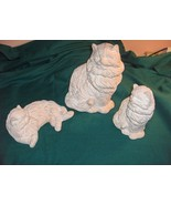 3 Vintage Ceramic Pink Cats Kittens WBI China Signed 1988 - $64.35