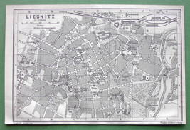 1904 MAP ORIGINAL Baedeker - POLAND Liegintz Legnica Town Plan - $5.07