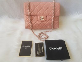 RARE Authentic Chanel Classic Vintage Quilted Soft Lambskin Pink Single Flap Bag - $1,699.00