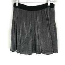 Madewell Skirt Size 2 Gray Silver Shimmer Pleated Zipper Mini Casual Party - $19.26
