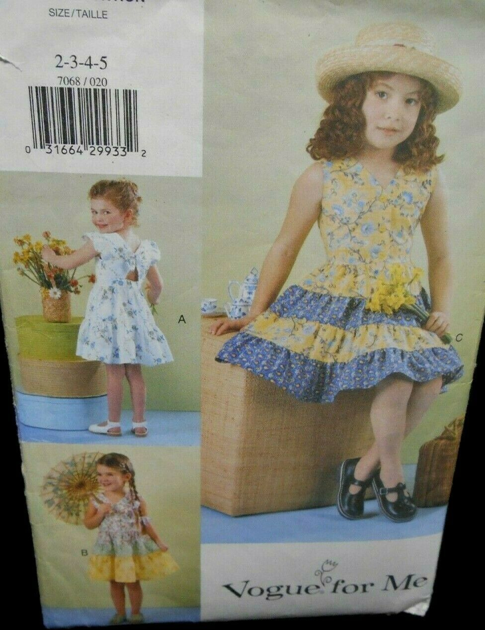 Vogue 7068 Childrens Girls 2-5 tiered skirt ruffles mid knee self lined bodice