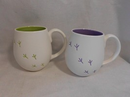 2 HALLMARK greeting card co. bird tracks purple & green tea Coffee MUGS cups - $12.99