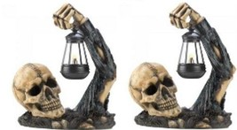 TWO SINISTER SKULLS  WITH  LANTERN - $63.28