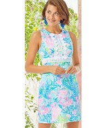 Lilly Pulitzer Railee Fished My Wish Lace Trim Stretch Shift Dress 12 14 16  - $151.20