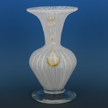 Vintage Murano Glass White Zanfirico  Footed Vase with Rigaree c.1950 image 2