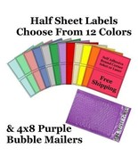 4x8 ( Purple ) Poly Bubble Mailers + Half Sheet Self Adhesive Shipping L... - $2.99+
