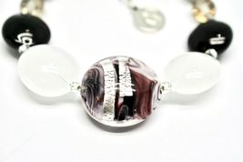 Bracelet Antique Murrina Venezia Lampwork Murano Glass Charm Bead Black & White image 3