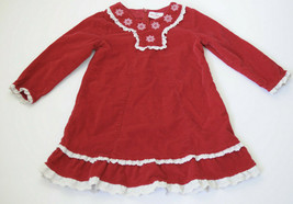 Hanna Andersson Dress Size 4 100 Corduroy Holiday Red White Lace Long Sl... - $25.73