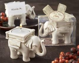 """Lucky Elephant"" Antique Ivory - Finish Tea Light Holder Set of 12 - $51.63"