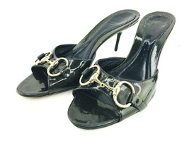 GUCCI Sandal Heels Womens 7 B Open Toe Mule Horse Bit Toggle Green Black GLOSS - $94.95
