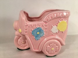 "Motorcycle Cart Planter Cotton Balls Babies Room Rink Blue Yellow 3 1/2""... - $9.89"