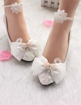 Women's Bright Bow Wedding Shoes,White Rhinestone bridal shoes flats uk 3,4,5 - $39.99
