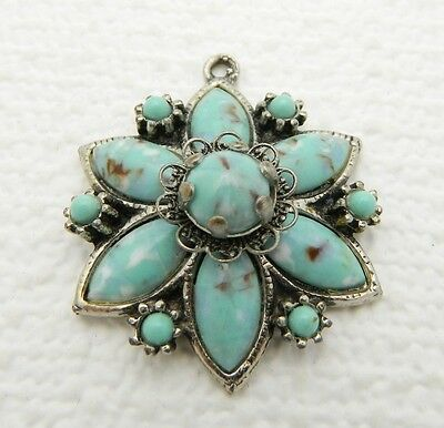 VTG Silver Toned Turquoise Glass Star Flower Pendant & Earrings Demi Parure Set