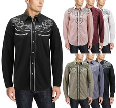 Men's Western Rodeo Style Cowboy Embroidered Tribal Print Dress Shirt image 1