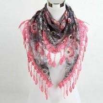 Women Fashion Triangle Scarf Lace Floral Summer Beach Wrap Stole Muffler... - $10.67