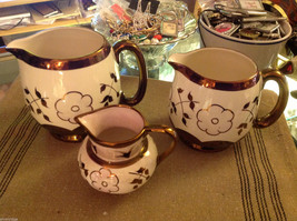 Three piece creamer pitcher set of Sandlandware Hanley England vintage copper