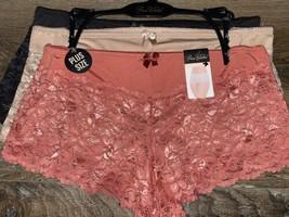 Prima Valentina ~ 3-Pair Women's Boyshorts Underwear Panties Lace (F) ~ 2X - $18.69