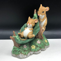 Tiny Tales Home Interior Homco Figurine Mouse Mice Porcelain Statue Naptime Leaf - $43.56