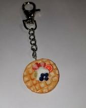 Fruit Waffle Keychain Breakfast Accessory Key Ring Women's Clay Waffle - $7.00