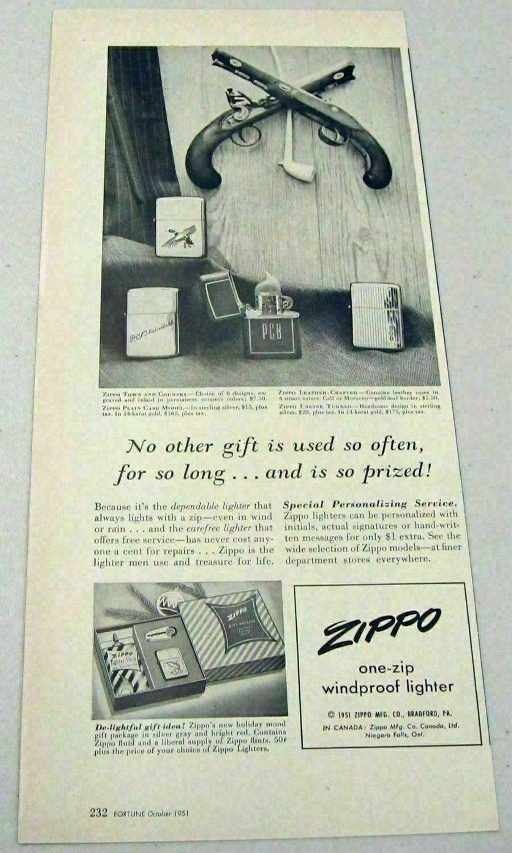 1951 Magazine Print Ad Zippo One-Zip Windproof Lighters Bradford,PA - $8.94