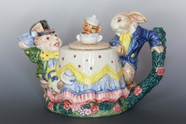 Fitz and Floyd Teapot, Alice in Wonderland Teapot, Mad Hatter & March Ha... - $1.337,96 MXN