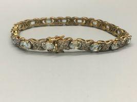 "Pretty Vintage 7"" Sterling Silver and Blue Topaz Bracelet Signed XOX image 5"