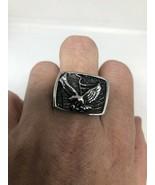 Vintage American Eagle Uomo Argento Acciaio Inox Anello Misura Uk8 - $27.78