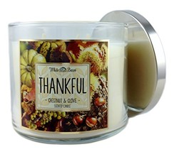 Bath & Body Works Candle 3 Wick 14.5 Oz Thankful Chestnut & Clove 2015 E... - $30.00