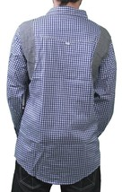 Orisue Bleu Blanc Vichy Pittsburgh Manches Longues Tissé Bouton Bas T-Shirt Nwt image 2