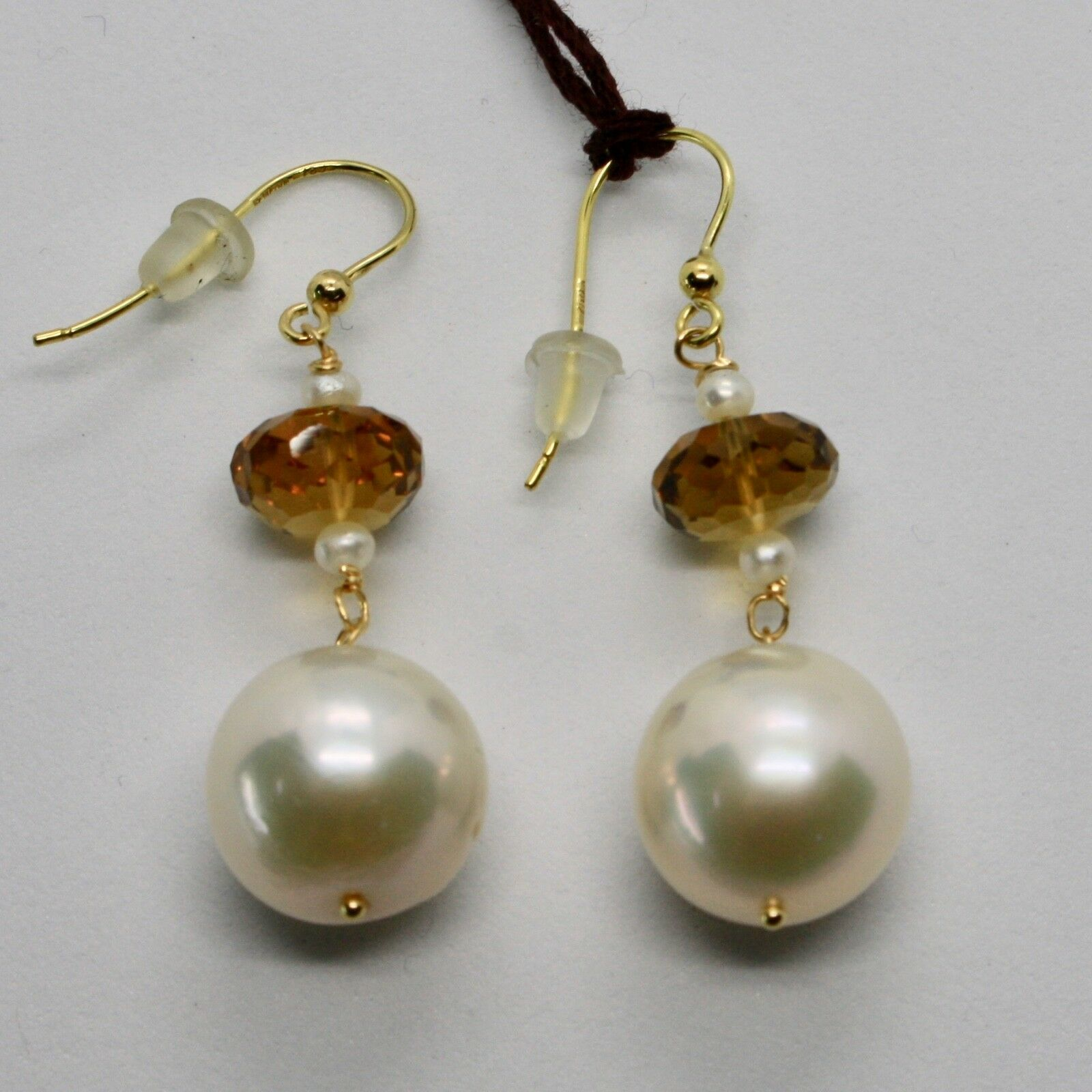 Yellow Gold Earrings 18K 750 Pearls Water Dolce and Quartz Beer Made in Italy
