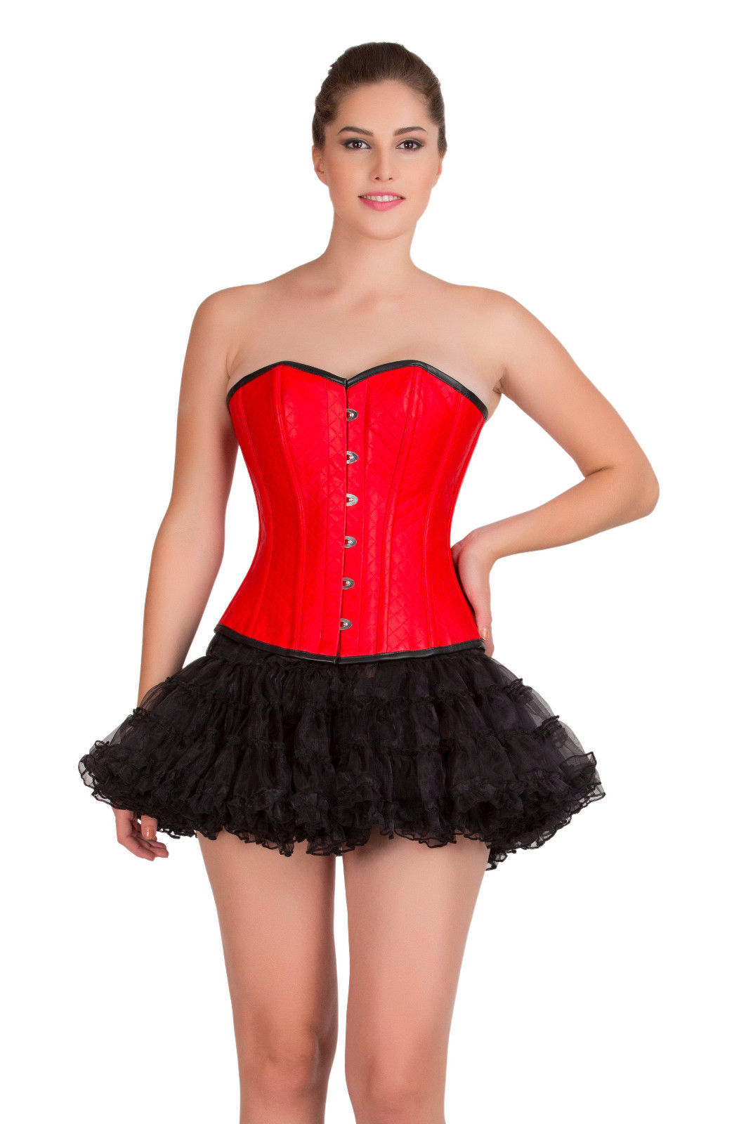 2e99750663f 57. 57. Previous. Red Leather Gothic Steampunk Overbust Top   Black Tissue  Tutu Skirt Corset Dress