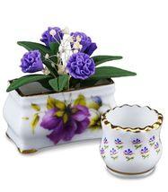 DOLLHOUSE Purple Flowers w Planter and Pot 1.431/5 Reutter Porcelain Miniature - $22.55