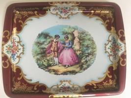 Vintage Daher Ware small Metal Tray Courtship rectangular Victorian 7.75... - $14.70