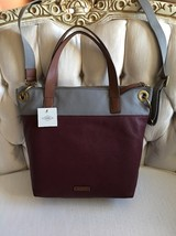 Fossil Authentic Leah Tote Wine/Gray/Cognac Genuine Leather  NWT Handbag... - $113.99
