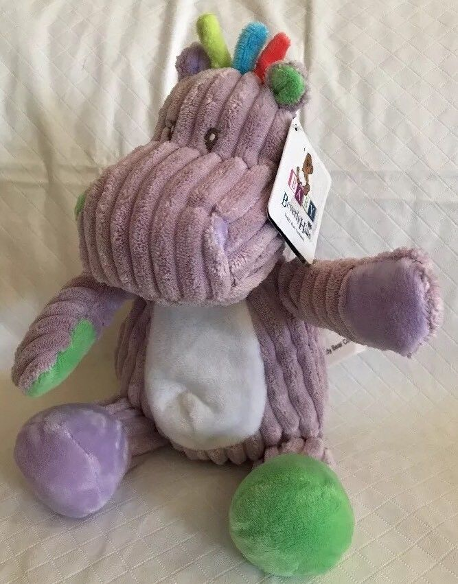 "Primary image for 9"" plush rattle Hippo doll, Beverly Hills Teddy Bear Co NWT Purple Baby Toy"