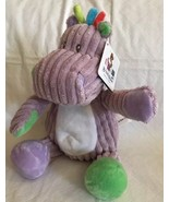 """9"""" plush rattle Hippo doll, Beverly Hills Teddy Bear Co NWT Purple Baby Toy - $15.83"""