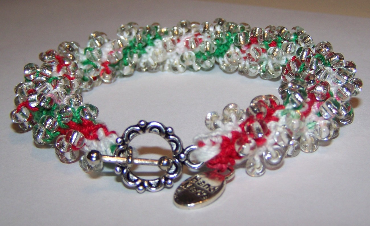 CHRISTMAS Jewelry Red White Green and Silver Beaded ...