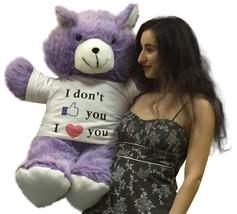 American Made Giant Purple Teddy Bear 36 Inches Wears I Dont Like You I ... - $97.20