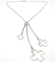 SILVER 925 NECKLACE, CHAIN VENETIAN, THREE CROSSES HANGING, SHINY AND SATIN - $57.65