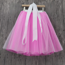 White Pink Tutu Tulle Skirt Puffy 4 Layered Party Full Circle Tulle Skirt Knee  image 2