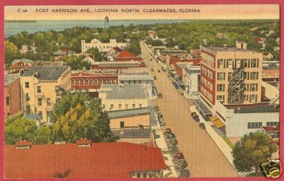 CLEARWATER FLORIDA Ft Harrison Ave Linen Postcard FL