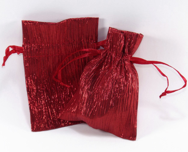 Primary image for Jewelry Pouches Gift Bags Metallic Sparkle Fabric Red 3 X 4