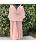 Sears Vintage Retro Angel Sleeve Dress Womens Size 8-10 1970s Peach Knee... - $34.65