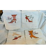 White linen Christmas kitchen tea towel with embroidered shoe designs - $16.00