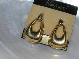 Estate Napier Goldtone Teardrop Door Knocker Post Earrings for Pierced Ears –  image 3