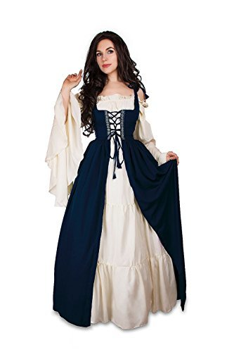 Mythic Renaissance Medieval Irish Costume Over Dress & Cream Chemise Set (S/M, I