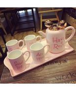 Pink Europen Ceramic Teaset with Tray Coffee Milk Tea Cup Set Wedding Gifts - $169.50
